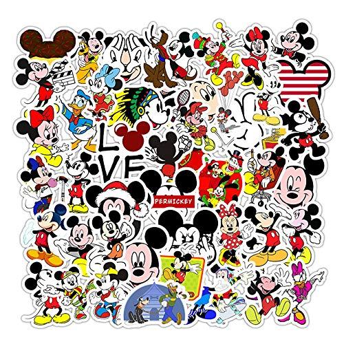 WYZNB 50 unids dibujos animados Mickey Mouse Donald Duck Creative Pegatinas Trolley Case Monopatín Teléfono Móvil Ordenador Graffiti Personalidad Casco Impermeable Decoración Diy Pegatinas