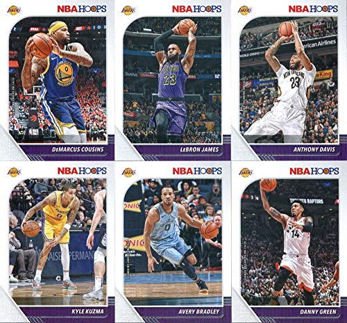 2019-20 Panini NBA Hoops Los Angeles Lakers Team Set of 13 Cards: DeMarcus Cousins(#64), LeBron James(#87), Kyle Kuzma(#88), Anthony Davis(#89), Avery Bradley(#91), Danny Green(#179), Talen Horton-Tucker(#248), Quinn Cook(#267), Kentavious Caldwell-Pope(#272), Rajon Rondo(#273), Kobe Bryant(#282), Shaquille O'Neal(#283), Anthony Davis(#294)