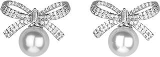 Silver Ribbon Bow Crystal Rhinestones White Pearl Stud...