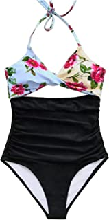485efc7fa89b0 CUPSHE Women's Lush Leaves Print Back Hook Closure Cut Out at Length One-Piece  Swimsuit
