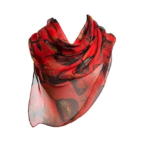 f99e51267a0 Ziory Red 1 Pc fashion leaves printing long georgette silk scarf for Girls  and Women