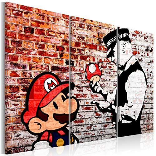 decomonkey Bilder Mario and Cop Banksy 120x80 cm 3 Teilig Leinwandbilder Bild auf Leinwand Vlies Wandbild Kunstdruck Wanddeko Wand Wohnzimmer Wanddekoration Deko Street Art