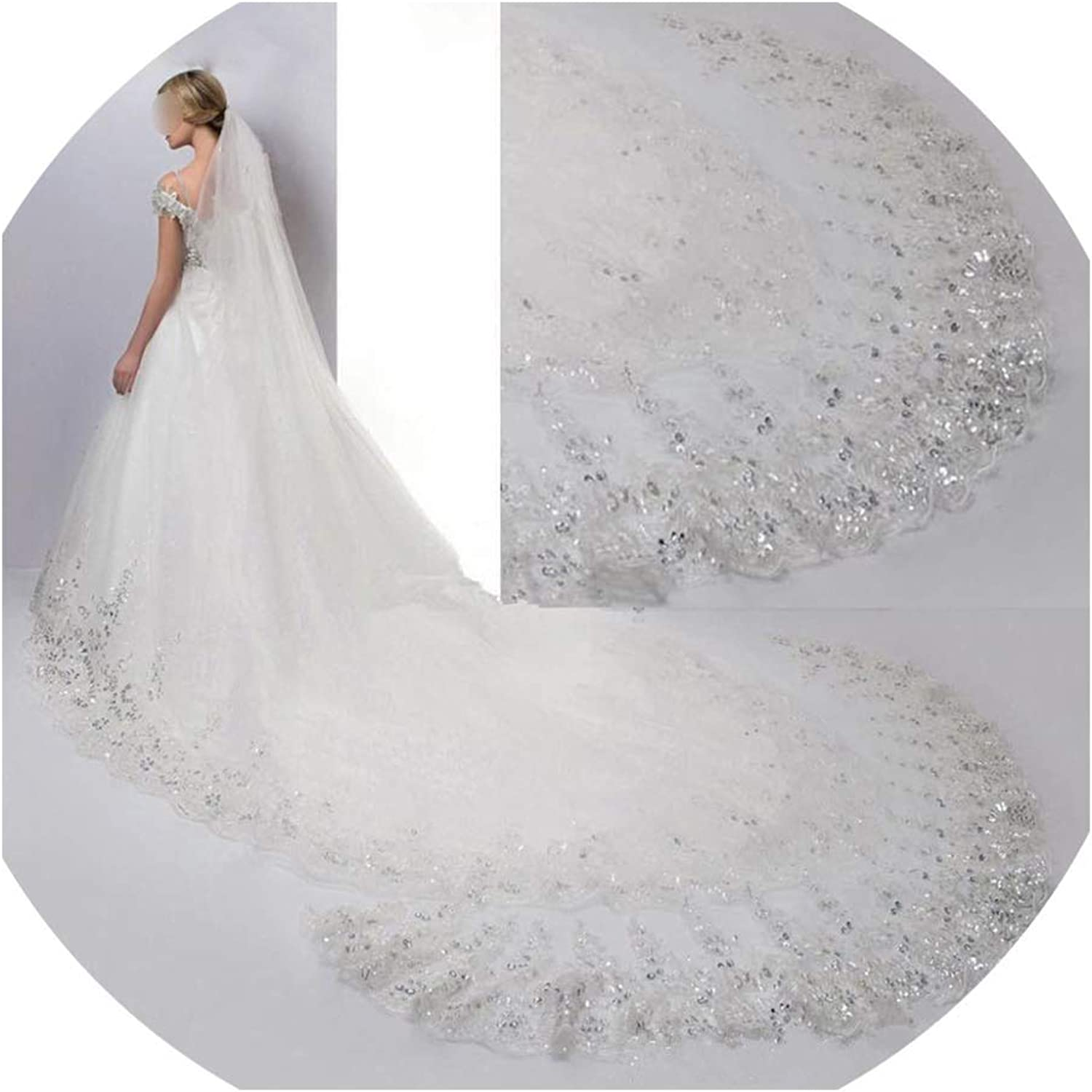 Elegant Wedding Veil Long Cathedral One Layer Appliques Edge Sequined Soft Bridal Veils With Comb 3 Metros,Ivory,300cm