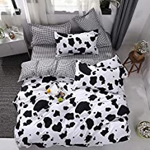 Chesterch Prevoster Teen Bedding Boys Girls Cow Print - Twin,Kids Duvet Cover Sets Blue 3 Pieces (1 Duvet Cover and 2 Pillowcases) - Soft,NO Comforter