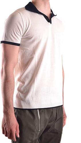 DANIELE ALESSANDRINI Homme FM911093700223 Blanc Noir Coton Polo