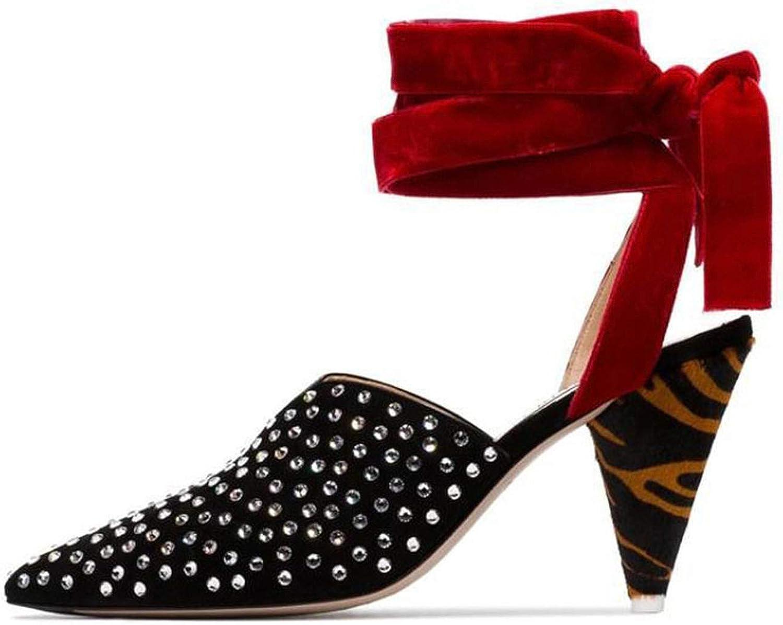 Pink-star Leopard Spike high Heels Pumps Metal Rivets Studded Gladiator Sandals for Women 2019