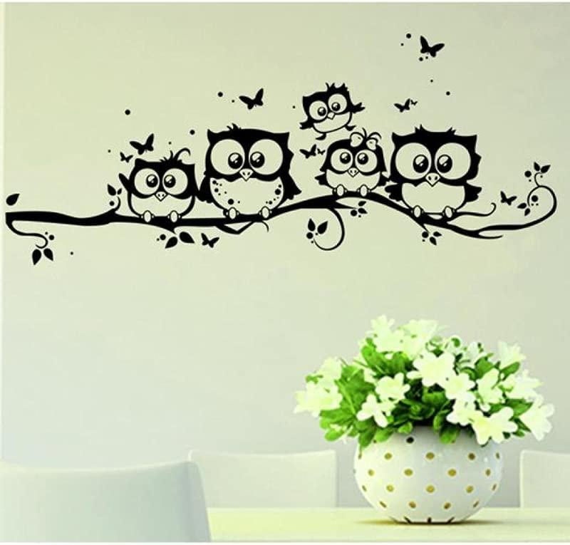YJYDADA Wall Stickers Kids Vinyl Art Cartoon Owl Butterfly Wall Sticker Decor Home Decal 55x25cm