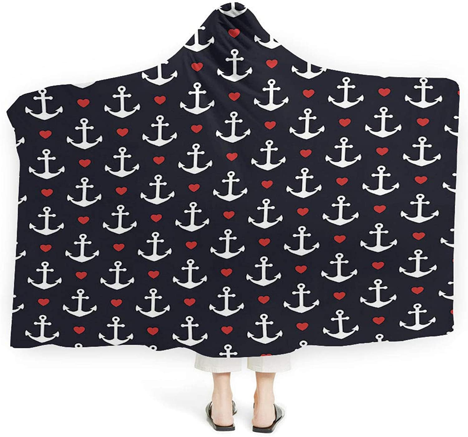 Baby Hooded Blanket Boys Girls Anchor Decor Soft Fluffy Minky Warm Cover Relieves Anxiety Stress Insomnia Contemporary Illustration an Anchor Safety Artistic Design Security Nautical Art (Adult