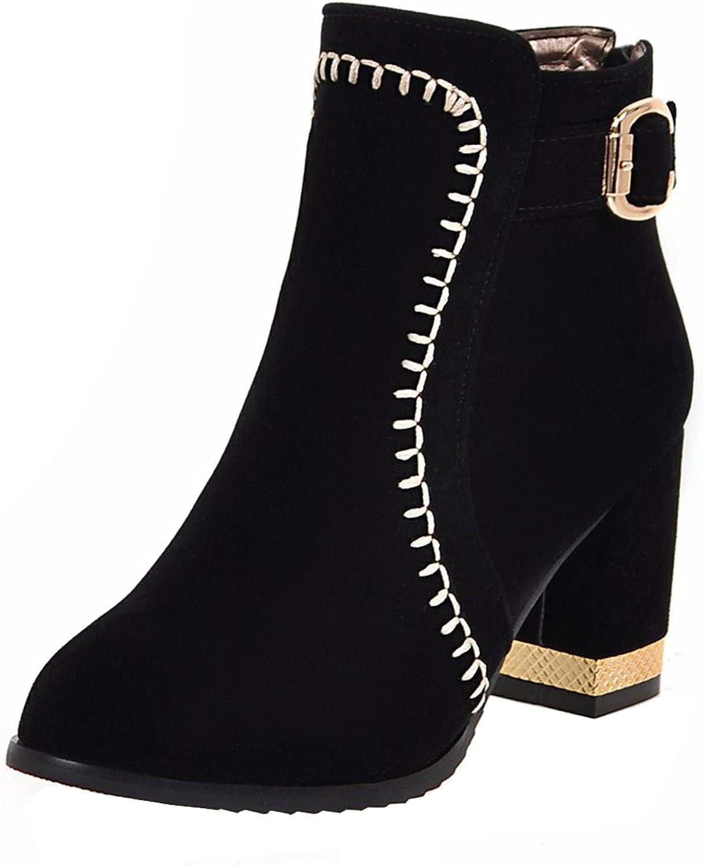 AIYOUMEI Women's Buckle Round Toe Zipper Bootie Block Heel Autumn Winter Nubuck Ankle Boots