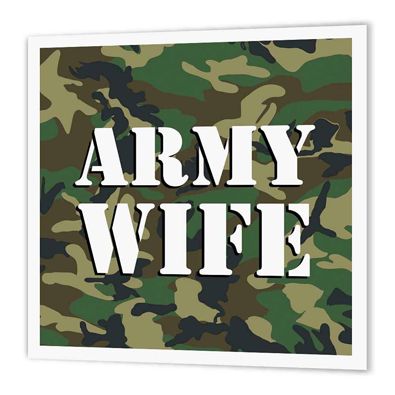 3dRose ht_24633_1 Army Wife Green Camouflage Iron on Heat Transfer Paper for White Material, 8 by 8