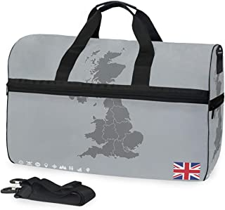 Map Of UK Big Travel Bag Top Fashion Weekender Large Capacity Camping Fitness Sports Luggage for Women Men