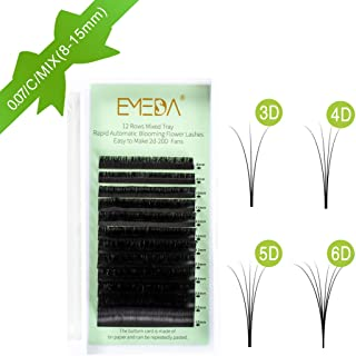 Volume Eyelash Extensions Auto Self Fanning 4D 5D 6D~10D Easy Fan Cluster Rapid Automatic Blooming Flower Eye Lash Extension C Curl .07 8-15mm Mixed Tray 0.07 Lashes(12 Rows 8-15mm Mixed Tray C Curl)