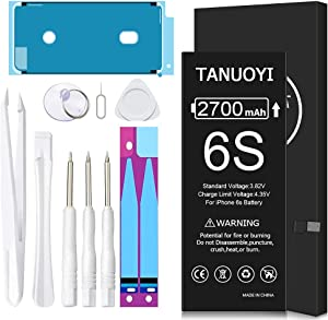 [2700mAh] Battery for iPhone 6S (2021 New Version), TANUOYI Ultra High Capacity Replacement 0 Cycle Battery with Professional Replacement Tool Kits