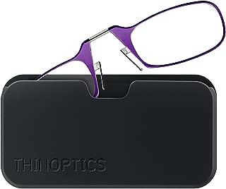 ThinOptics Reading Glasses + Black Universal Pod Case | Purple Frame, 2.00 Strength Readers