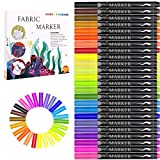 Fabric Marker, Emooqi 24 Colors Textile Marker, No Bleed Fabric Pen Permanent and Washable T-Shirt Marker,Ideal for...