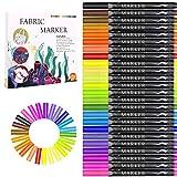 Fabric Marker, Emooqi 24 Colors Textile Marker, No Bleed Fabric Pen Permanent and Washable T-Shirt Marker,Ideal for Decorate T-shirts, Bibs, Textiles, Shoes, Handbags, Graduation Signatures