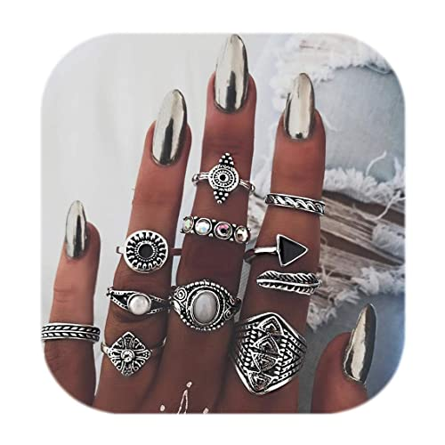 d12b31b18 ZEALMER Knuckle Ring Set Vintage Carving Flower Turquoise Arrow Moon Boho  Stackable Rings for women