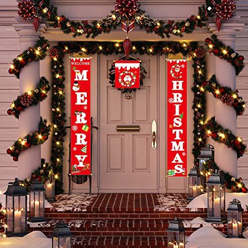 Decoraciones para Puertas de Navidad porche signo bienvenida y feliz Navidad colgante signo feliz feliz Navidad estandarte de Nuevo año Copo de nieve Navidad ventana decoración para vacaciones casa