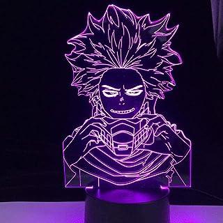 BTEVX My Hero Academia Lámpara de noche 3D para niños Anime Hitoshi Shinso Lámpara Hitoshi Shinso Luz para habitación Deco Regalo de cumpleaños 7 colores Touch Illusion dormitorio