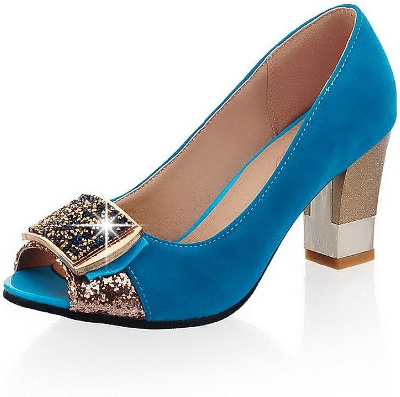 AmoonyFashion Women's Imitated Suede Solid Pull-on Peep Toe High-Heels Heeled-Sandals