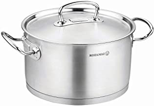 Korkmaz Stainless Steel Stockpot with Lid and Handles, Silver 6.5 Quart a1162