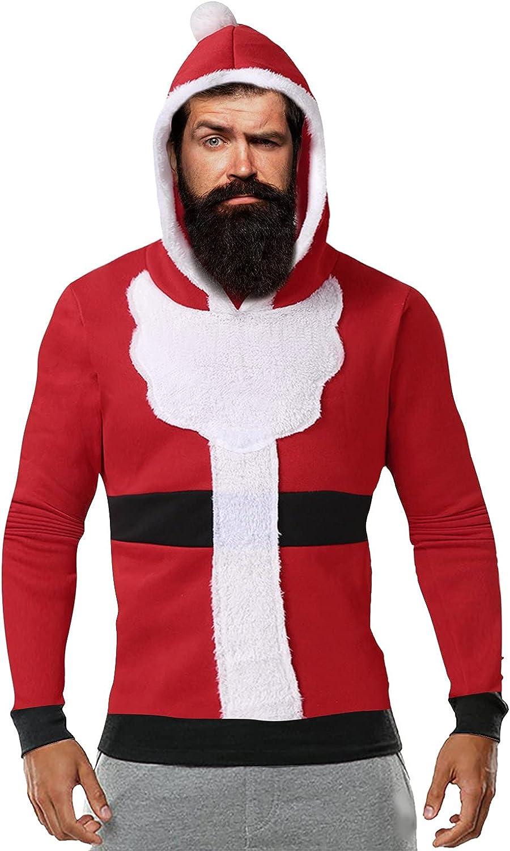 Huangse Mens Christmas Santa Claus Cosplay Hoodie Cute 3D Print Xmas Reindeer Fleece Lined Sweatshirt Holiday Warm Pullover