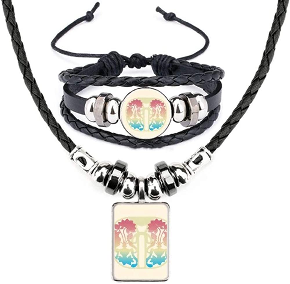 Painting Colorful Yellow Flower Leather Necklace Bracelet Jewelry Set