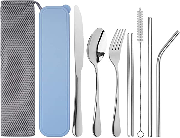 Travel Utensils Tifanso Upgraded Reusable Utensils With Case Portable Travel Cutlery Set 9 Piece Including Knife Fork Spoon Chopsticks Cleaning Brush Metal Straws Stainless Steel Flatware Set