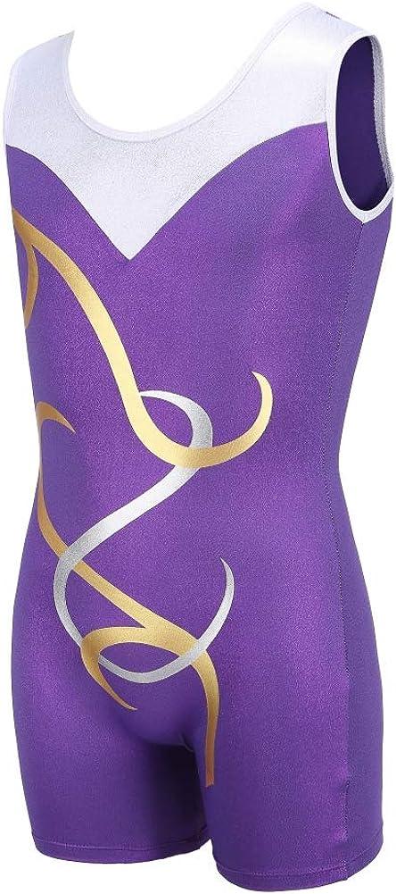 Dkhsy Girls Gymnastics Leotards Sleeveless//Long Sleeve Sparkle Pattern Leotard Dancing Ballet Dancewear Gymnastics Athletic Unitards Bodysuit for Little Girl 5-12 Years