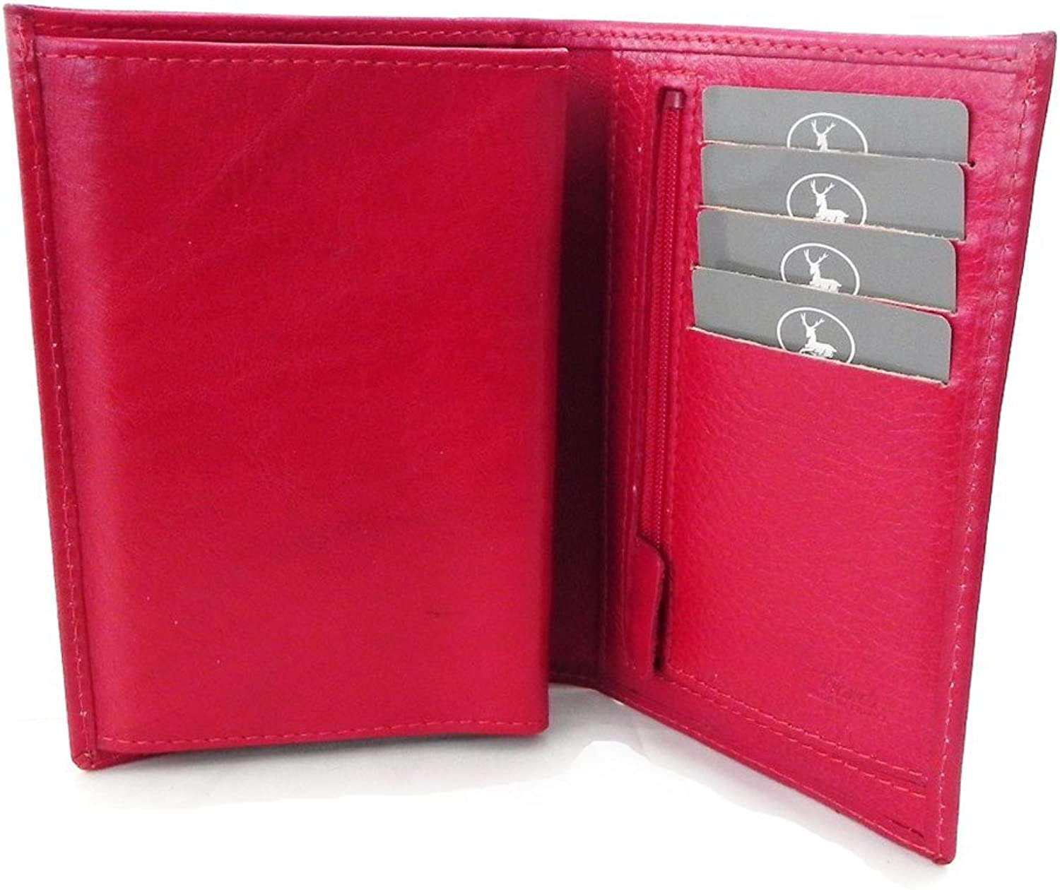 [On SALE   SOLDES  ]   Leather wallet  Frandi  red  green york (3 parts).