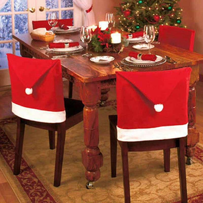 Re2chiOngs Christmas Santa Hat Chair Covers Santa Clause Red Hat Chair Back Covers Kitchen Chair Covers Sets For Xmas Holiday Festive Decor