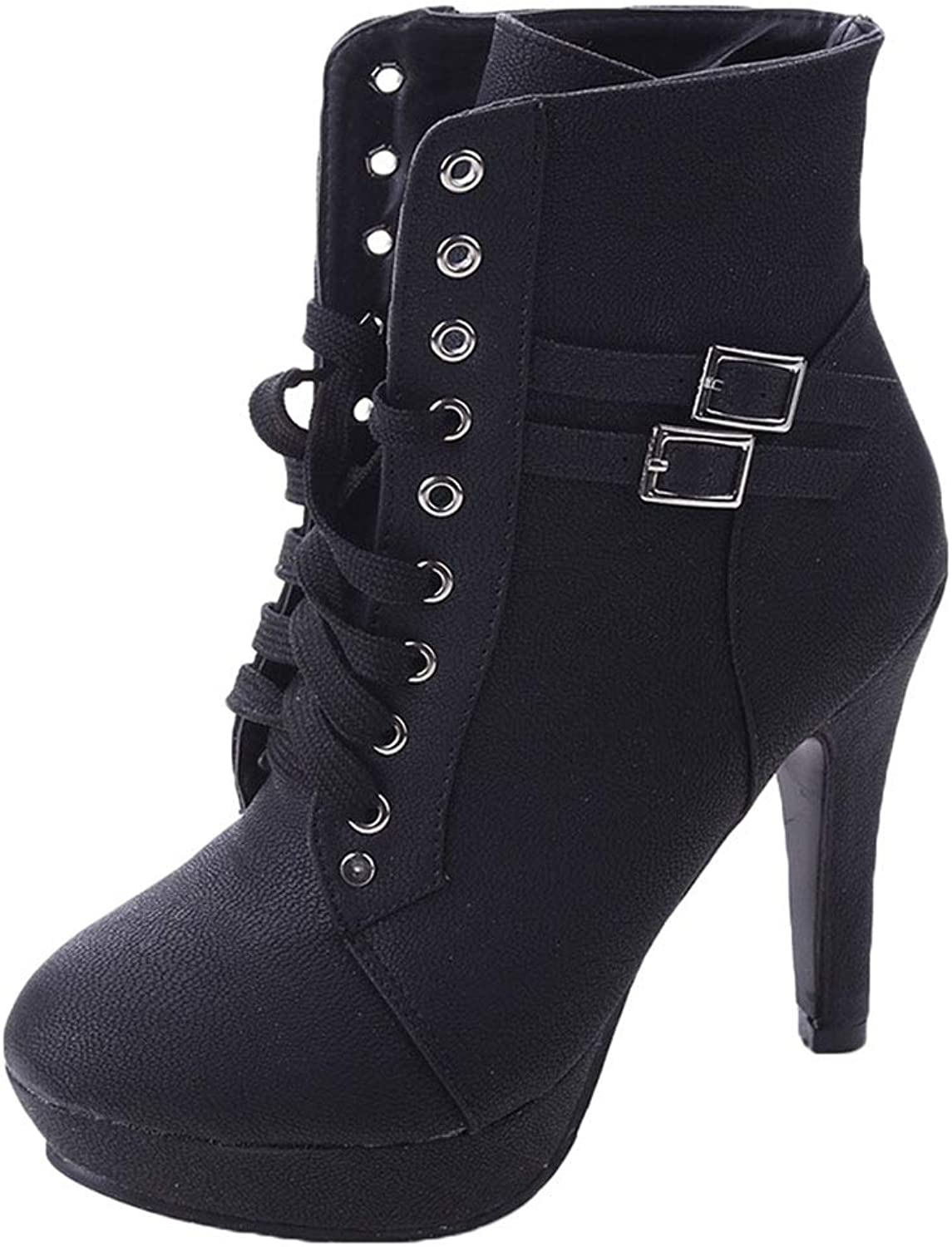ONCEFIRST Women's Platform Boots Lace Up High Heel Bootie