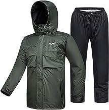 ILM Motorcycle Rain Suit Waterproof Wear Resistant 6 Pockets 2 Piece Set with Jacket and Pants Fits Men Women (Men's Medium, Army Green)