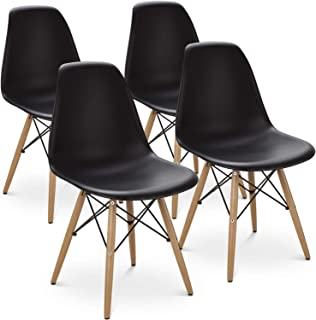 Kitchen Dining Chairs with Mid Century Modern Style Plastic Side Chair Armless Living Room and Bedroom Chairs 4 Set (Black)