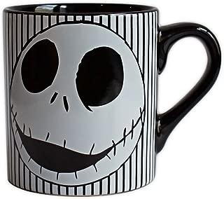 Disney NB0232 Nightmare Before Christmas Skull Stripes Ceramic Mug, 14-ounces, Black and White