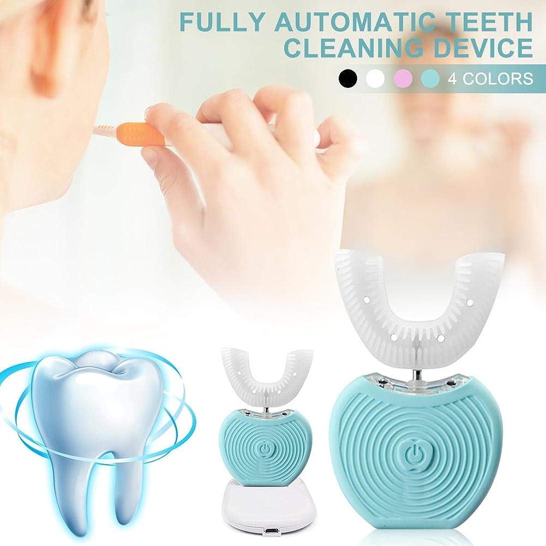 すべて信条数値USBポータブル電動歯ブラシ IPX7防水 ブルーレイホワイトニングツール AI自動メモリー機能 360度オールラウンド歯ブラシ