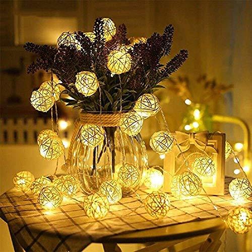 Uoging LED Rattan Lampion Lichterkette, 5M 40 Rattan Kugeln Lichterkette Batteriebetrieben für Indoor Schlafzimmer Hochzeit Dekoration (Warmweiß)