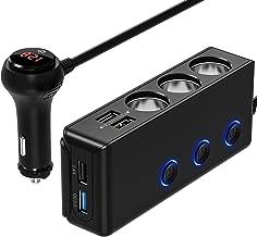 [Quick Charge 3.0] 3-Socket Cigarette Lighter Adapter, 120W 12V/24V Car Power DC Outlet Splitter with 8.5A 4 USB Charging Ports Car Charger (Black)