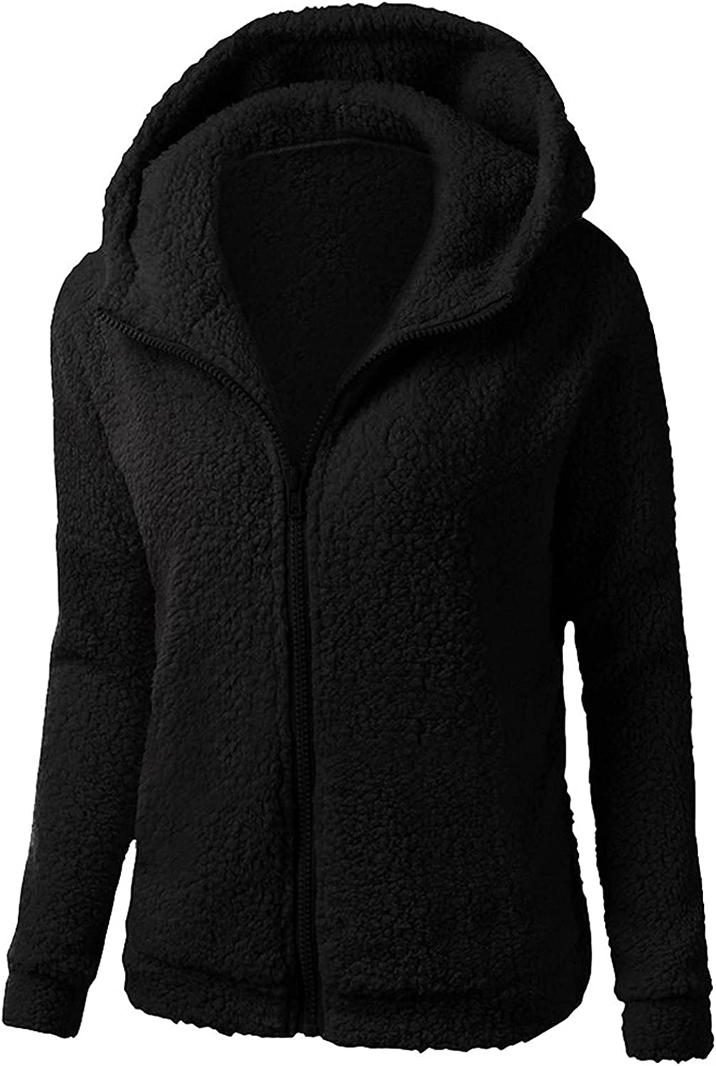 SZITOP Women's Hooded Winter Warm Wool Zipper Solid Color Long Sleeve Casual Cotton Chunky Tops Sweater Pullover Coat Outwear
