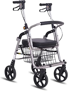 Shopping Trolleys Old Shopping Cart Aluminum Alloy Scooter Folding Portable Walker Outdoor Wheelchair Can Bear 150 Kg (Color : Black, Size : 72 * 50 * 87-98cm)