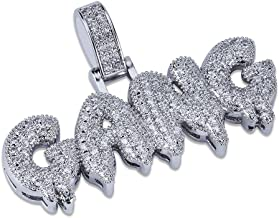 HECHUANG Hip Hop Jewelry Micropave Simulated Diamond Iced Dripping Letter Gang Pendant Chain Necklace