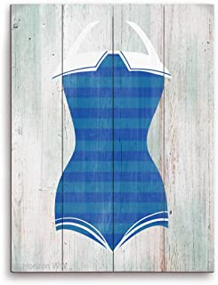 Blue Striped Bathing Suit Nautical Vintage Distressed Wood-textured Planked Wood Art Print Wall Décor 16x20
