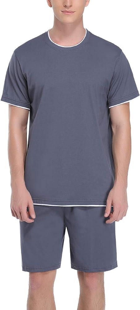 Hawiton, pigiama da uomo estivo, due pezzi,  100% cotone, b-grigio