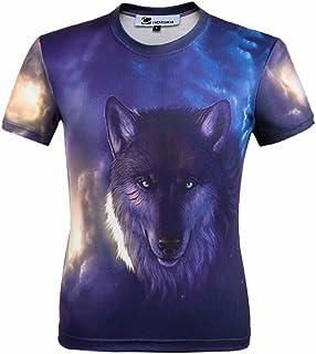 cornflower Men's 3D Printed T-Shirt Short Sleeve Casual Tees Shirt Wolf XL