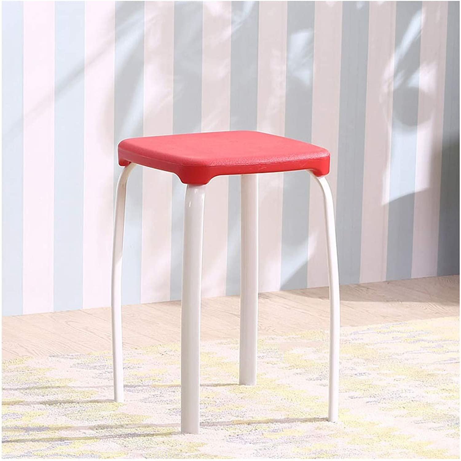 Plastic Square Stool, Stackable Adult Small Stool Nordic Style Breakfast Stool Modern Minimalist Dining Stool Dressing Stool Bar Stool,for Kitchen, Restaurant, Cafe, Bar (Size  29  29  45cm)
