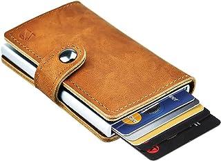 Dlife Credit Card Holder RFID Blocking Wallet Slim Wallet PU Leather Vintage Aluminum Business Card Holder Automatic Pop-up Card Case Wallet Security Travel Wallet (Light Brown)