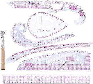 PIONIN Conjunto de 7 Piezas Regla métrica Francesa, Recortadora de Ropa Curva de plástico Regla