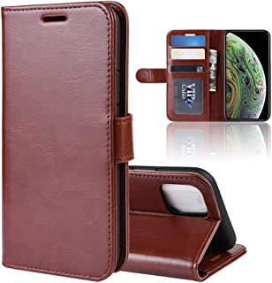 Apple Leather Case for iPhone XI,Crazy Horse PU Leather Flip Stand Cell Phone Cover with Wallet (Color : Brown)