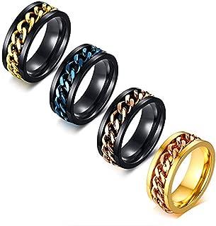 Reizteko 4 Pcs Mens Spinner Rings, Fidget Ring, Stainless Steel Band, Gold, Blue, Rose Gold, Size 7-12 (10)