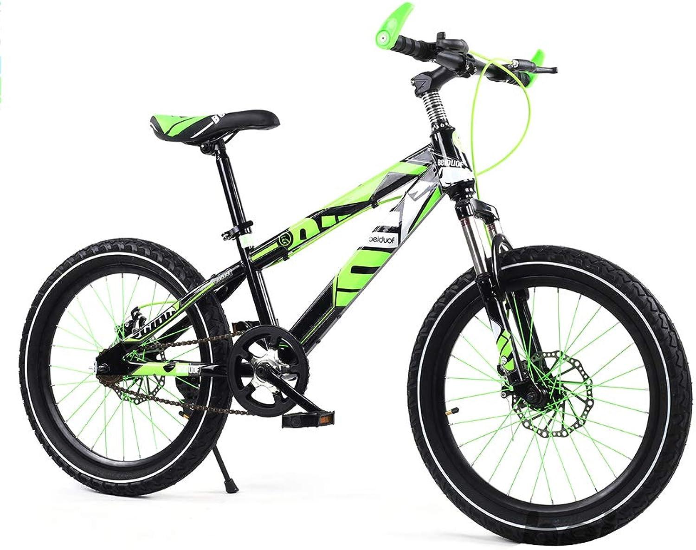 SXMXO Mountain Bike 16 Inches Kids Bike for Girls & Boys Bicycle Dual Disc Brake,16 Inch Bicycle (Red orange bluee Green),Green